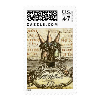 Three Little Witches Halloween Postage Stamps