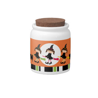 Three Little Witches Happy Halloween Candy Dish