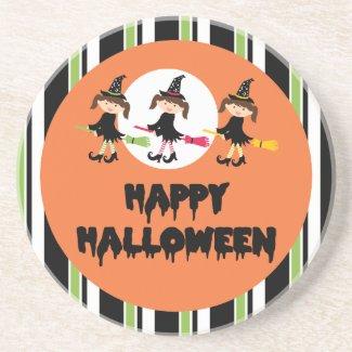 Three Little Witches Happy Halloween Beverage Coaster