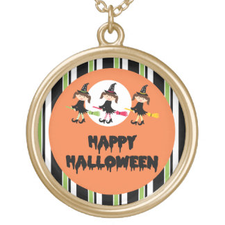 Three Little Witches Happy Halloween Round Pendant Necklace