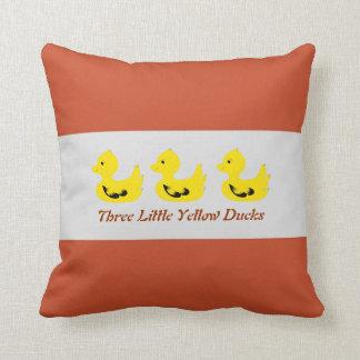 Three Little Yellow Ducks Polyester Throw Pillows