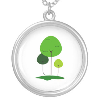 Three lollypop shaped tree eco design.png silver plated necklace