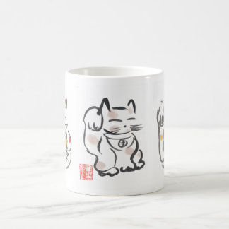Three Lucky Cats Cup Classic White Coffee Mug