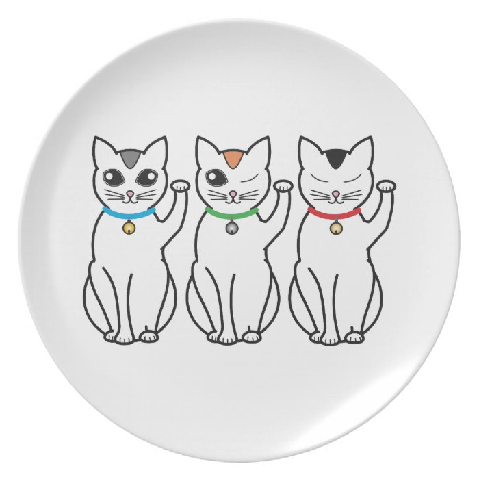 Three Lucky Cats Melamine Plate