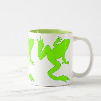 Three Lucky Chartreuse Frogs Two Tone Mug
