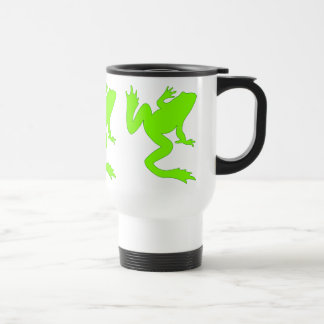Three Lucky Chartreuse Green Frog Silhouettes Travel Mug