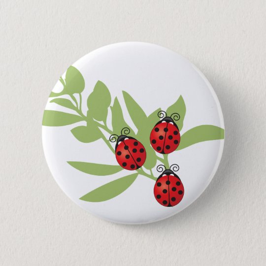 Three Lucky Ladybugs Button