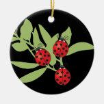 Three Lucky Ladybugs Christmas Ornaments