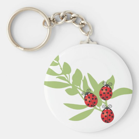 Three Lucky Ladybugs Keychain