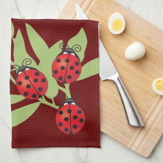 Three Lucky Ladybugs Kitchen Towel