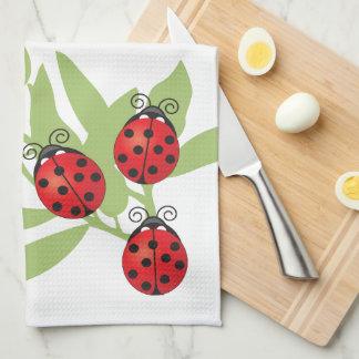 Three Lucky Ladybugs Hand Towels