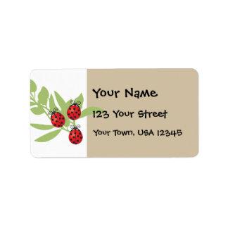 Three Lucky Ladybugs Address Label