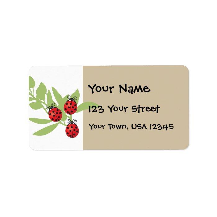 Three Lucky Ladybugs Label