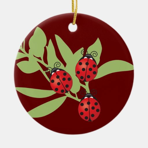 Three Lucky Ladybugs Double-Sided Ceramic Round Christmas Ornament
