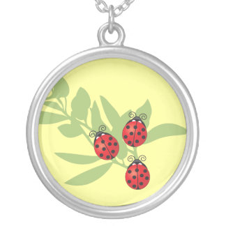 Three Lucky Ladybugs Round Pendant Necklace