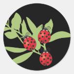 Three Lucky Ladybugs Round Stickers