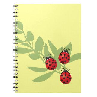 Three Lucky Ladybugs Spiral Notebook