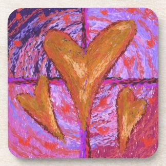 Three Lustrous Hearts Cork Coaster