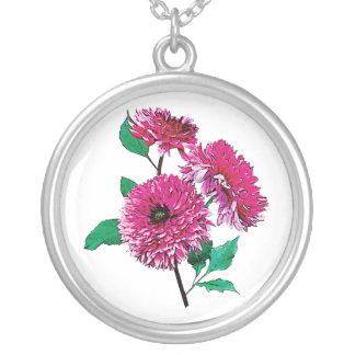 Three Magenta Dahlias Round Pendant Necklace