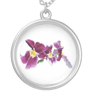 Three Magenta Orchids Round Pendant Necklace