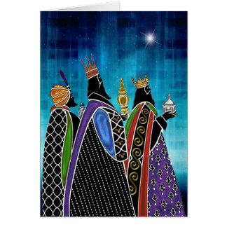Three Magi Bearing Gifts Under Starry Sky Greeting Card