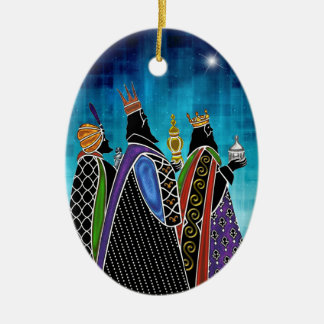 Three Magi Bearing Gifts Under Starry Sky Christmas Ornament