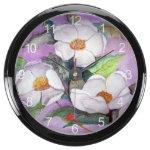 Three Magnolias Aqua Clock (with Numbers)