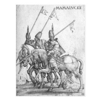 three mamelukes with lances postcards