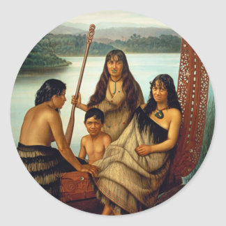 'Three Maori Girls and a Boy' - Lindauer Sticker