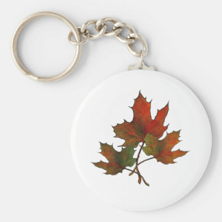 Three Maple Leaves in Autumn Realism Art Key Chain