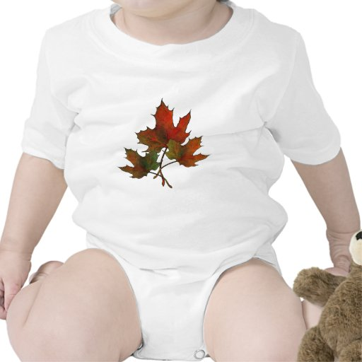 Three Maple Leaves in Autumn: Realism Art Bodysuits