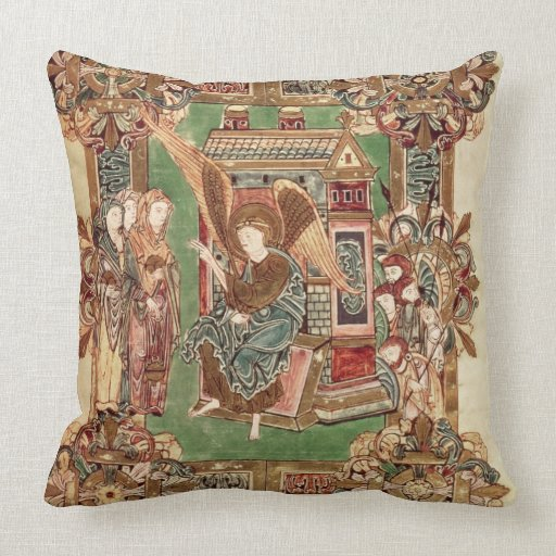 Three Maries at the Sepulchre, from the Benedictio Throw Pillow