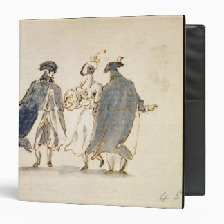 Three Masked Figures in Carnival Costume (pen & in Binder