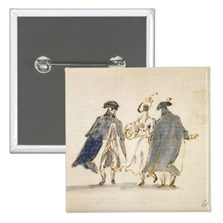 Three Masked Figures in Carnival Costume (pen & in 2 Inch Square Button