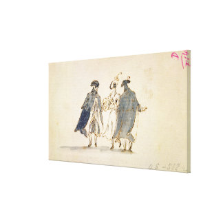 Three Masked Figures in Carnival Costume (pen & in Canvas Print