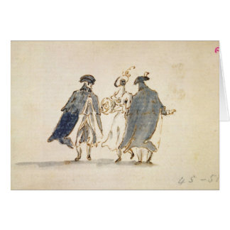 Three Masked Figures in Carnival Costume (pen & in Card