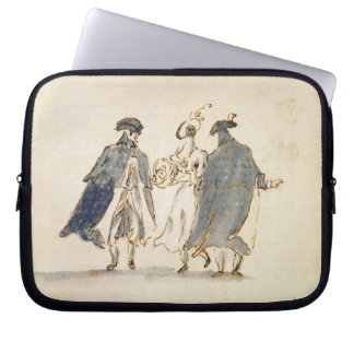 Three Masked Figures in Carnival Costume (pen & in Computer Sleeve