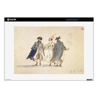Three Masked Figures in Carnival Costume (pen & in Decal For Laptop