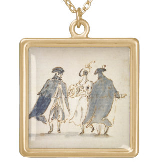 Three Masked Figures in Carnival Costume (pen & in Gold Plated Necklace