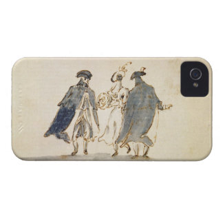 Three Masked Figures in Carnival Costume (pen & in iPhone 4 Case-Mate Case