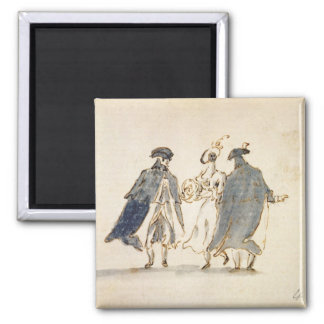 Three Masked Figures in Carnival Costume (pen & in Magnet
