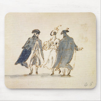 Three Masked Figures in Carnival Costume (pen & in Mouse Pad
