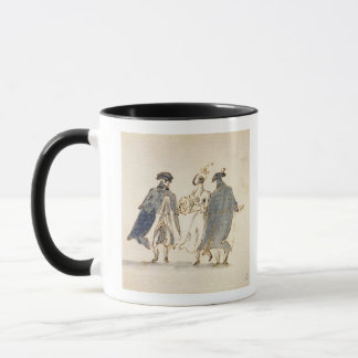 Three Masked Figures in Carnival Costume (pen & in Mug