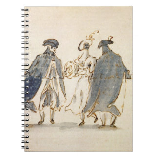 Three Masked Figures in Carnival Costume (pen & in Notebook