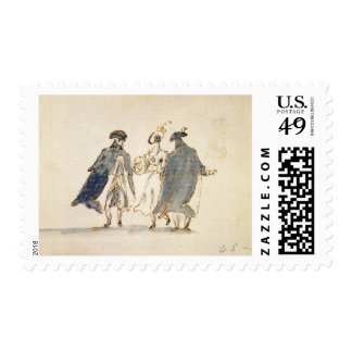 Three Masked Figures in Carnival Costume (pen & in Postage