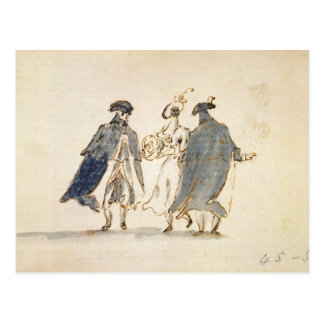 Three Masked Figures in Carnival Costume (pen & in Postcard