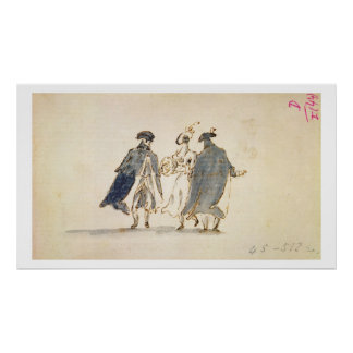 Three Masked Figures in Carnival Costume (pen & in Poster