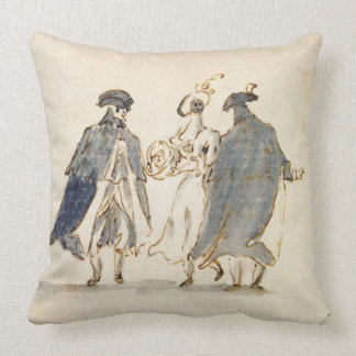 Three Masked Figures in Carnival Costume (pen & in Throw Pillow