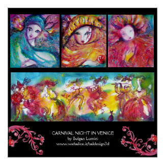 THREE MASKS AND CARNIVAL NIGHT IN VENICE POSTER