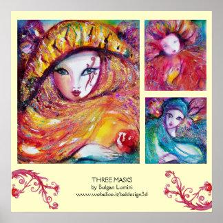 THREE MASKS /Venetian Carnival Faces Poster
